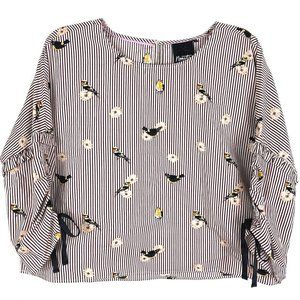 Nanette Lepore Birds & Stripes 3/4 Sleeve Blouse